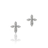 14K White gold cross earrings with diamonds