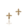 14K Yellow gold cross earrings with diamonds