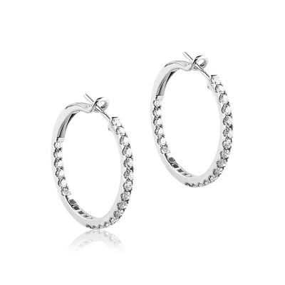 14K White gold hoop earrings with diamonds