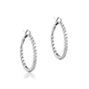 14K White gold oval hoop earrings with diamonds