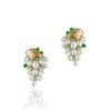 14K Yellow gold earrings with tear drop pearls and emerald
