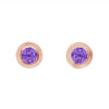 14K Rose Gold Amethyst Birthstone Stud Earrings