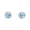 14K White Gold Blue Topaz Birthstone Stud Earrings