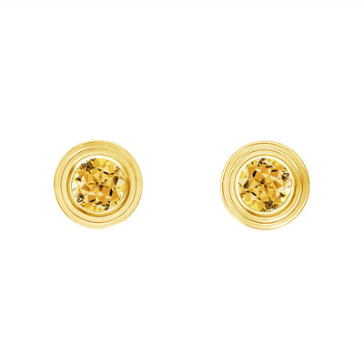 14K Yellow Gold Citrine Birthstone Stud Earrings