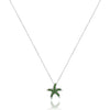 14K White gold star fish necklace with diamonds and green tsavorite