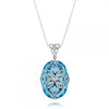 14K White gold pendant necklace with blue topaz and diamonds.