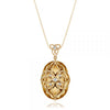 14K Yellow gold pendant necklace with citrine and diamonds.