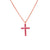 14K Rose Gold Pink Sapphire Cross Necklace