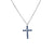 14K White Gold Blue Sapphire Cross Necklace
