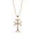 14K Two Tone Cross Necklace