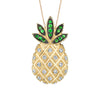 14K Yellow Gold Pineapple Necklace With Diamonds And Tsavorites