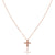 14K Rose gold cross necklace with diamonds
