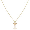 14K Yellow gold cross necklace with diamonds