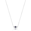 14K White gold evil eye protector necklace with diamonds and blue sapphire