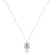 14K White gold round evil eye protector necklace with diamonds and blue sapphire