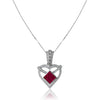 14K White gold heart necklace with diamonds and center ruby