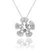 14K White gold flower necklace with diamonds