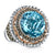 14K Gold And 925 Sterling Silver Diamond And Blue Topaz Fashion Ring