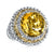 14K GOLD AND 925 STERLING SILVER DIAMOND AND CITRINE FASHION RING