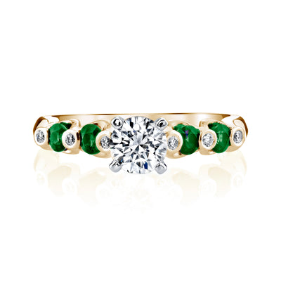 14K Yellow Gold Engagement Ring With Diamonds And Emeralds