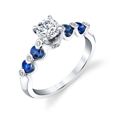 14K White Gold Engagement Ring With Diamonds And Sapphires