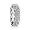 14K White Gold Pave Diamond Three Row Eternity Ring