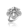 14K White gold flower ring with diamonds