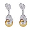 18K White Gold Diamond Earrings With Yellow Pearl
