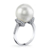 18K DIAMOND AND NATURAL 14MM PEARL RING