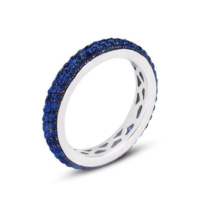 18K White Gold Eternity Band With Blue Sapphires