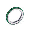 18K WHITE GOLD ETERNITY BAND WITH GREEN TSAVORITES