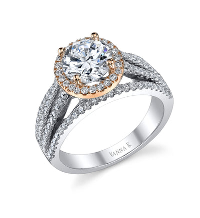 18K Two Tone Diamond Engagement Ring