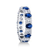 18K White Gold Oval Shaped Diamond And Sapphire Eternity Ring