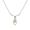 18K White Gold Peridot Necklace With Diamonds