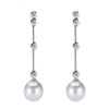 18K White Gold Diamond Dangle Earrings With White Pearl