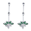 18K White Gold Dangle Earrings With Diamonds And Tsavorite