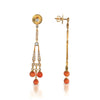 18K Rose Gold Chandelier Earrings With Diamonds And Corral