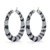 18K Gold Black And White Diamond Hoop Earrings