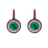 18K White Gold Earrings With Diamonds Sapphire And Amethyst