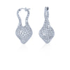 18K White Gold Free Form Diamonds Pave Earrings