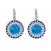 18K White Gold Earrings With Diamonds Sapphire And Blue Topaz