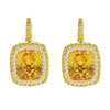 18K YELLOW GOLD EARRINGS WITH DIAMONDS SAPPHIRE AND CITRINE