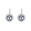 18K White Gold Diamond Earrings With Black Pearl