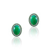 18K White gold stud earrings with diamonds tsavorite and center pharenite