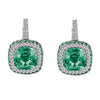 18K White Gold Earrings With Diamonds Tsavorite And Amethyst