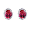 18K White Gold Earrings With Diamonds And Pink Tourmaline