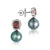 18K White Gold Diamond Earrings With Tourmaline And Pearls