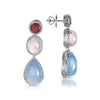 18K White Gold Multi Gem Drop Earrings With Tourmalines And Diamonds