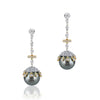 18K Two tone dangle earrings with diamonds and black pearl