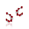 18K Two tone earrings with diamonds and ruby's